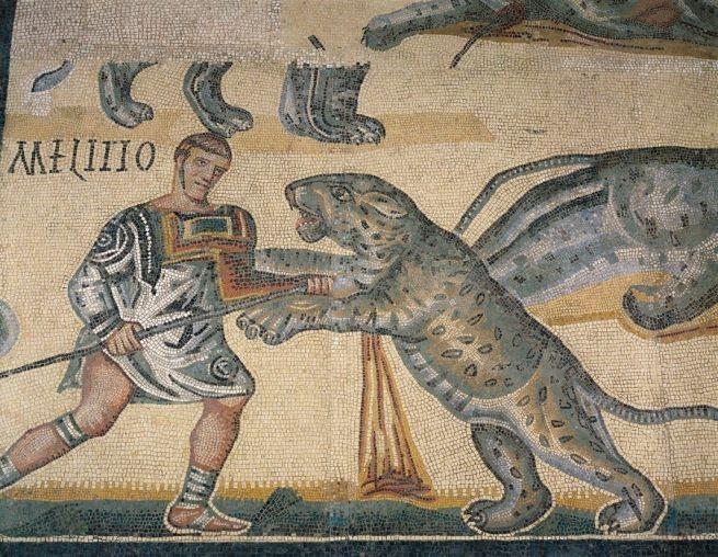 Combate entre un venator y un tigre. Tusculum (Lazio). Siglo IV d.C.