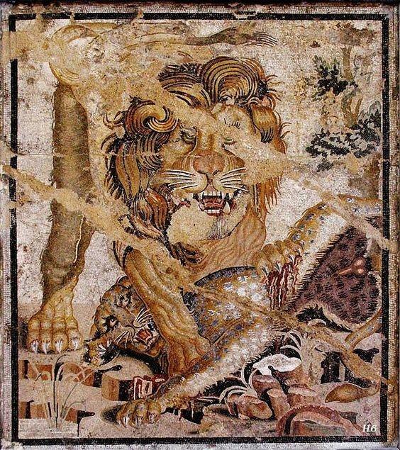 Mosaico pompeyano. León vence a un tigre.
