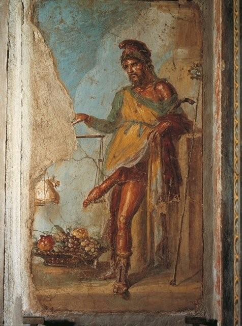 Fresco de Príapo en la casa de los Vettii, Pompeya
