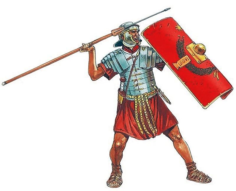 Legionario en posición de arrojar el pilum