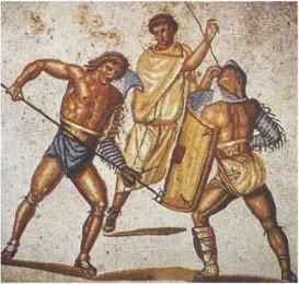 Retiario con galerus en mosaico encontrado en la villa de Nennig, Alemania